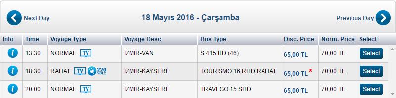 Стоимость автобуса Измир - Каппадокия