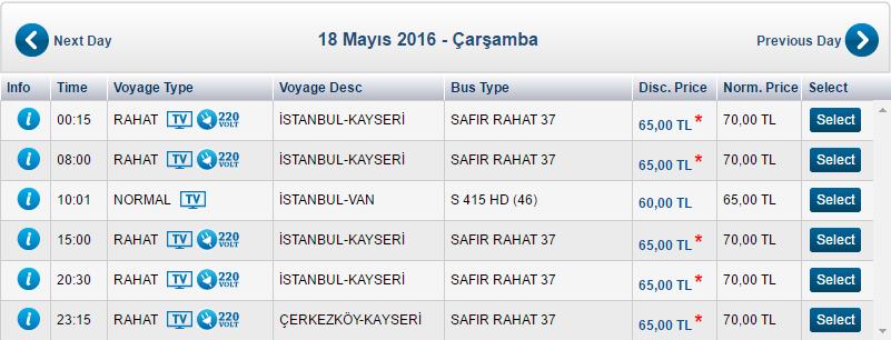 Стоимость автобуса Стамбул - Каппадокия