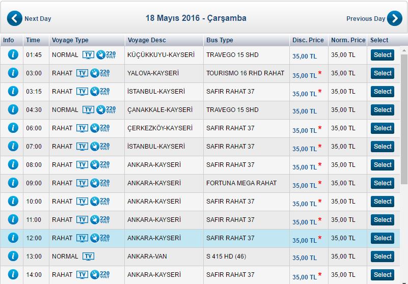Стоимость автобуса Анкара - Каппадокия