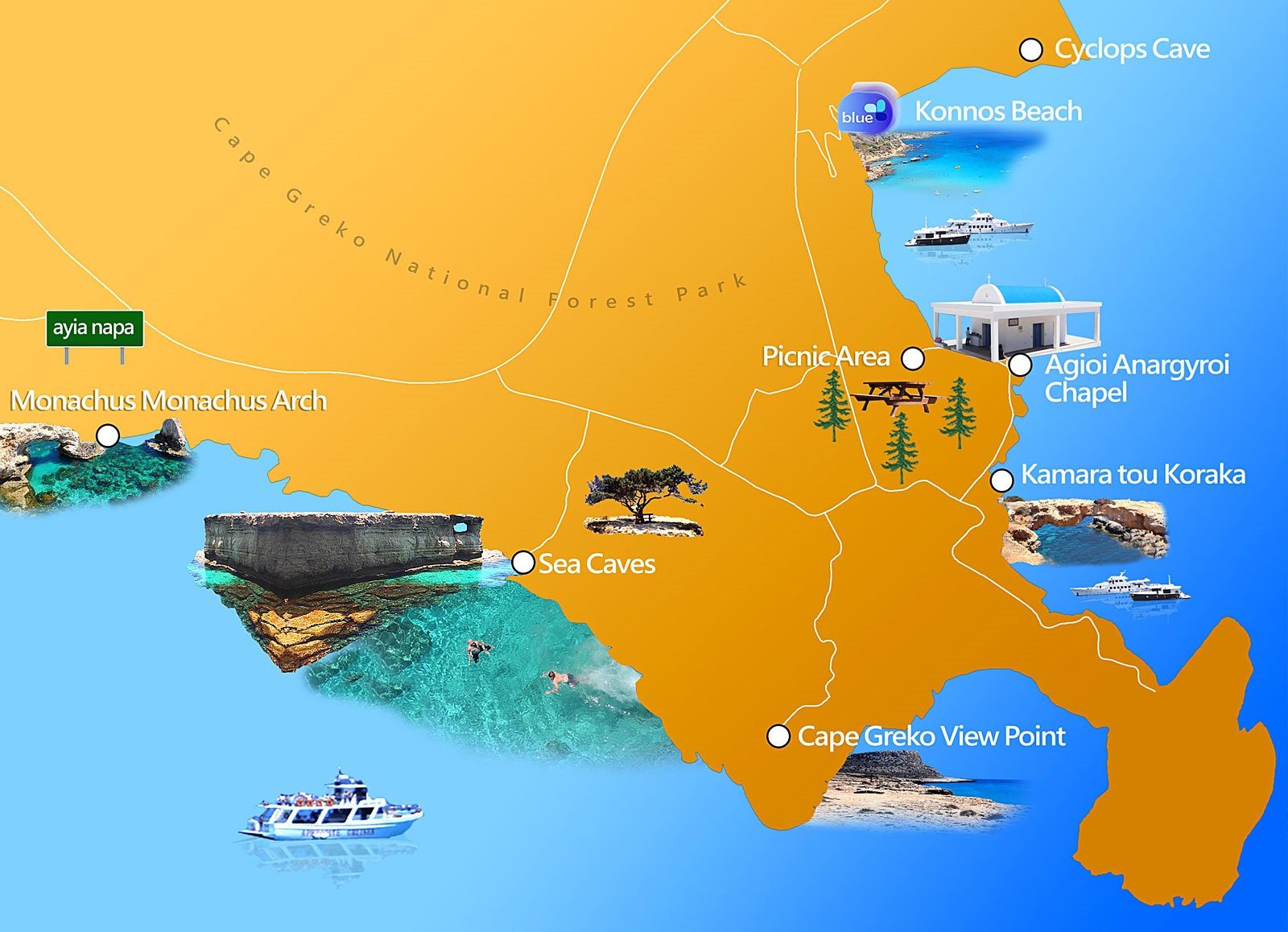 Мыс Каво Греко на карте Кипра
