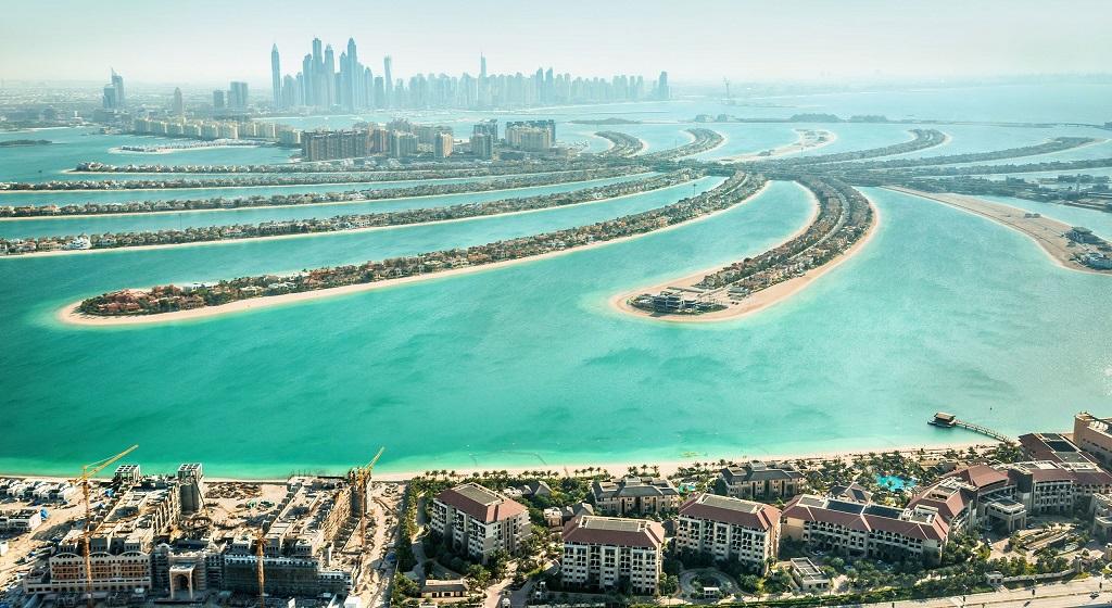 Пальма-Джумейра с вертолета в Дубае