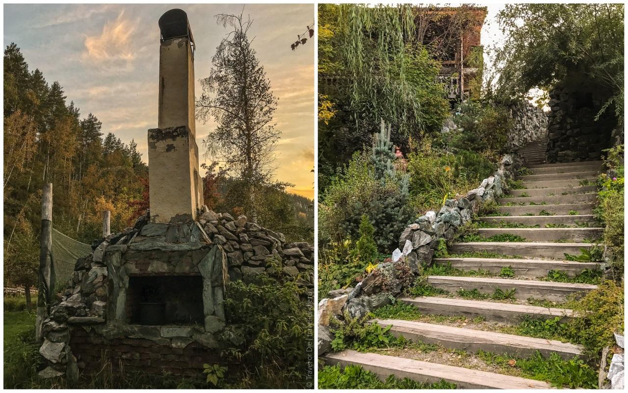 эко парк сад пионов печная труба и лестница