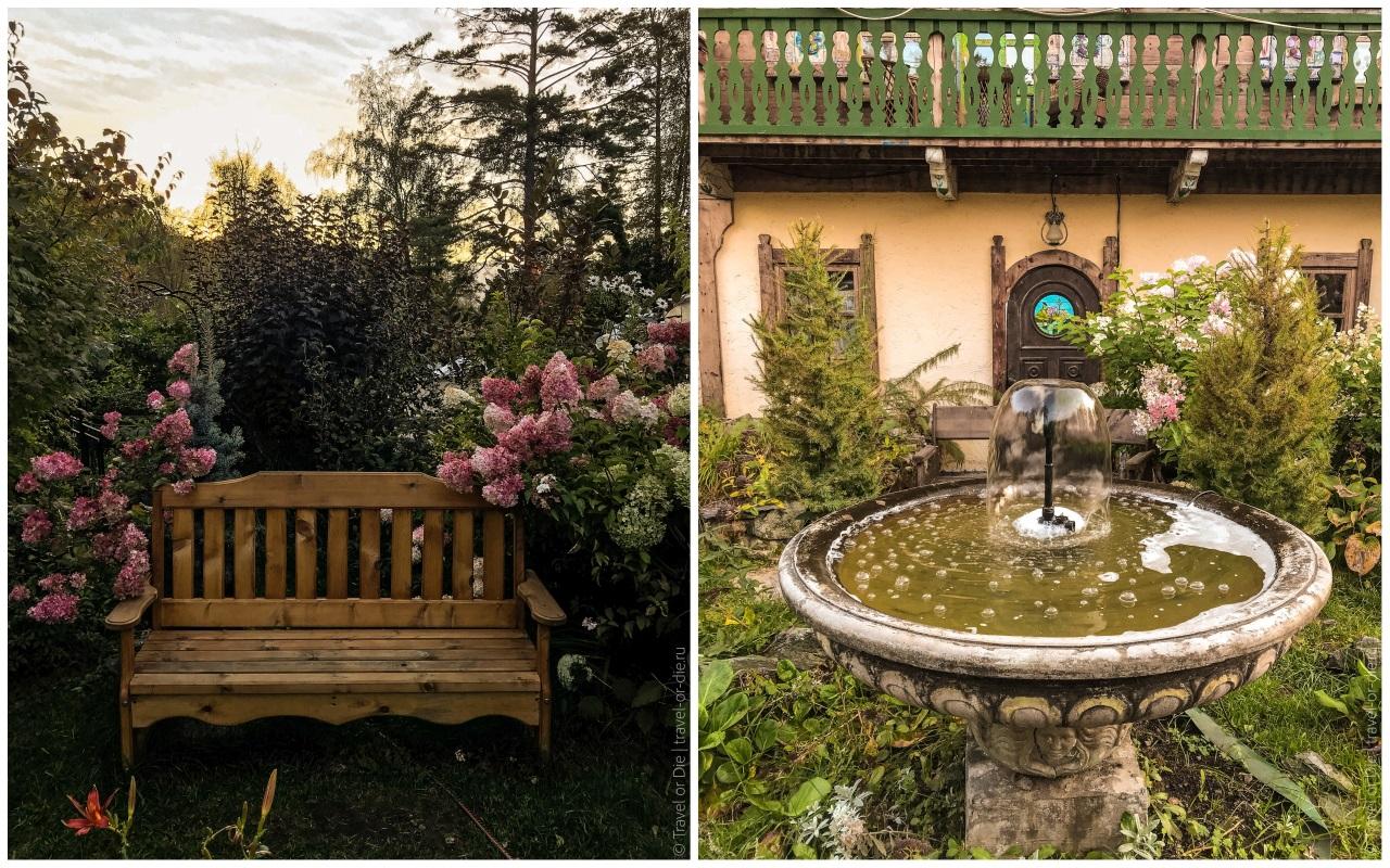 эко парк сад пионов садик с фонтаном