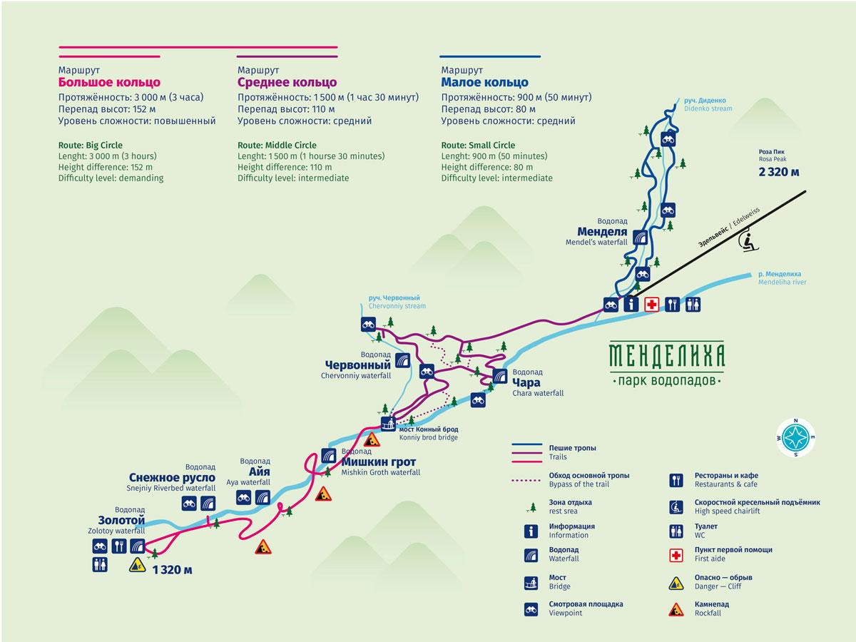 парк водопадов менделиха карта маршрутов
