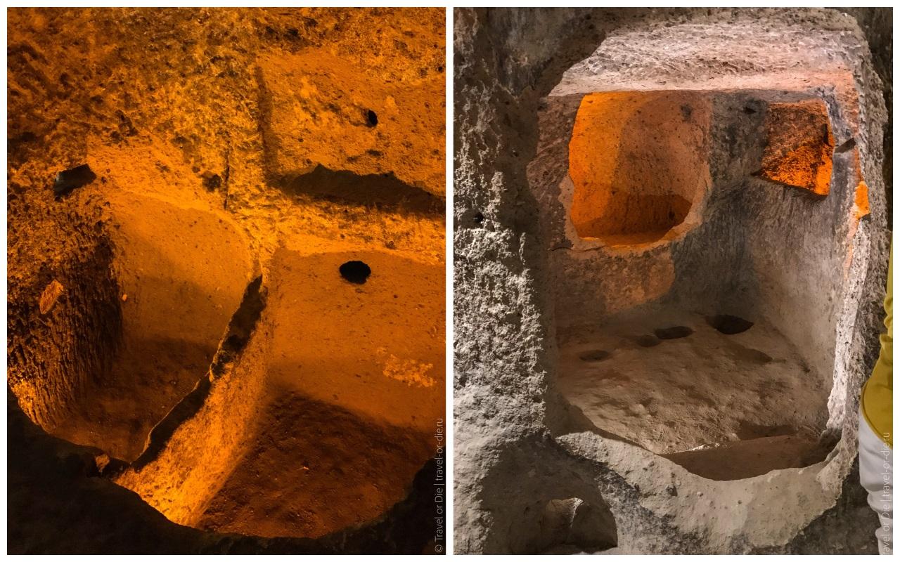 комнаты в подземном городе каймаклы