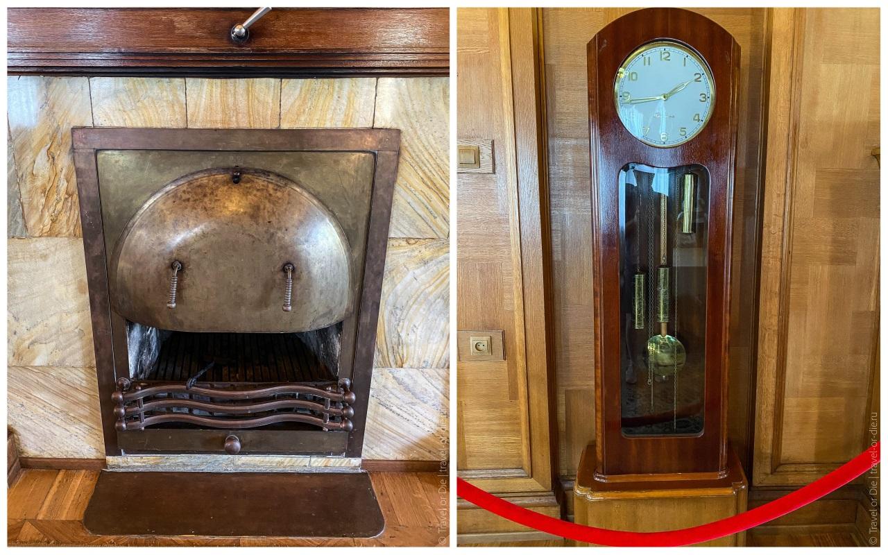 внутри дачи сталина в сочи - камин и часы