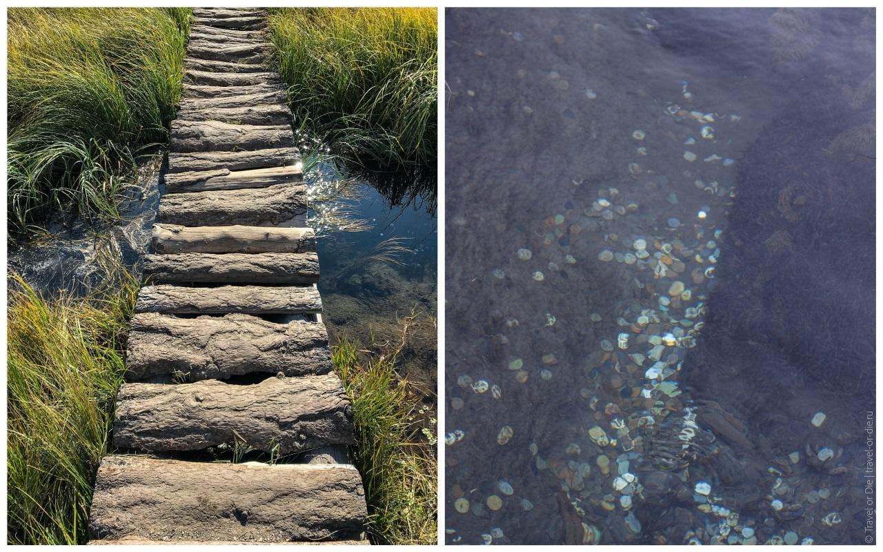 монетки в воде гейзерного озера на алтае